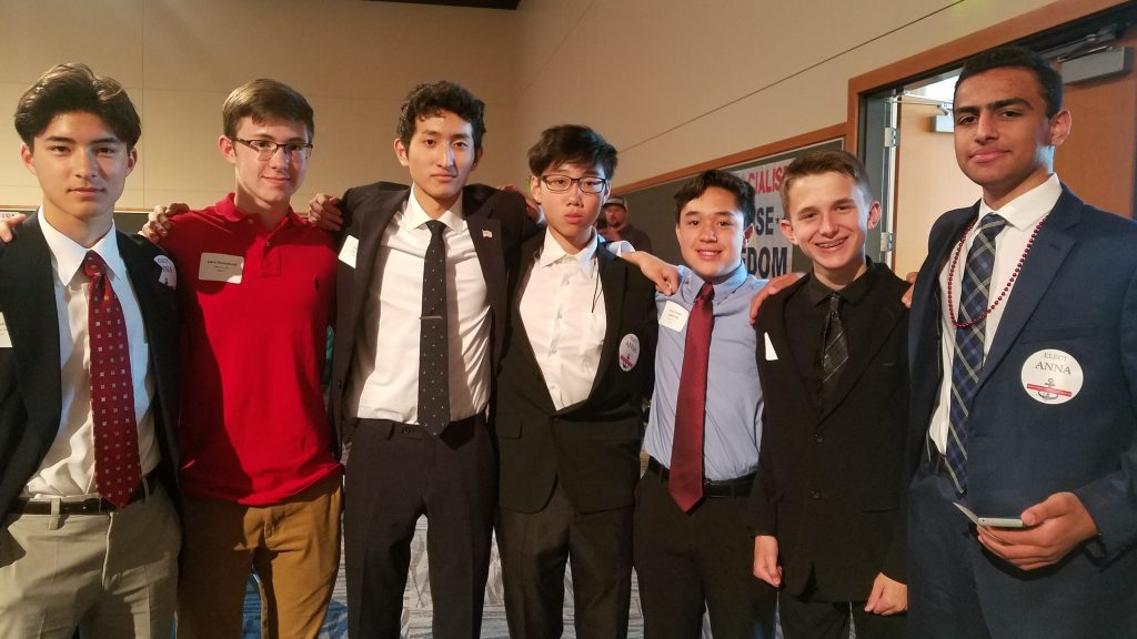 Jackson High School's Turning Point USA club members (left to right): Koto McCann, Jakob Diepenbrock, club president Isaac Yi, Leejon Chon, Aaron Douan-gapahivong, Ethan Giroux, and Munder Abukhder.