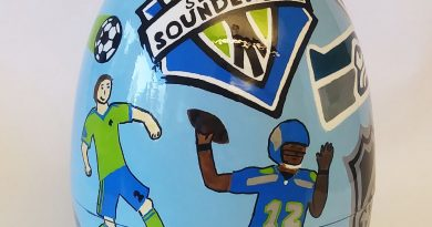 Seattle Sports: The Unity of the Community by Cindy Hannikman was located at Cask and Trotter Restaurant.