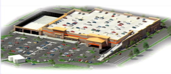 Home Depot with rooftop parking for 441 vehicles