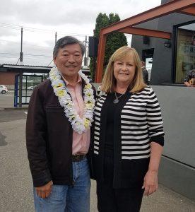 Lynnwood Times photo by Luke Putvin. Senator Bob Hasegawa and Lynnwood Chamber of Commerce President Linda Jones.