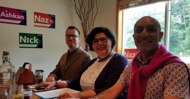 Lynnwood Times Photo. L-R: Lynnwood Forward candidates Nick Coelho, Naz Lashgari and Ashkan Amouzegar at Bistro 76 on July 5.
