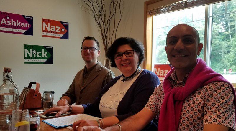 Lynnwood Times Photo. L-R: Lynnwood Forward candidates Nick Coelho, Naz Lashgari and Ashkan Amouzegar at Bistro 76 on July 5.