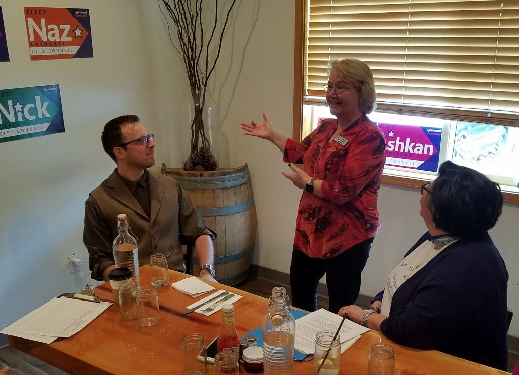 Lynnwood Times Photo. Council Vice President Christine Frizzell speaking at Lynnwood Forward kickoff on July 5 at Bistro 76.