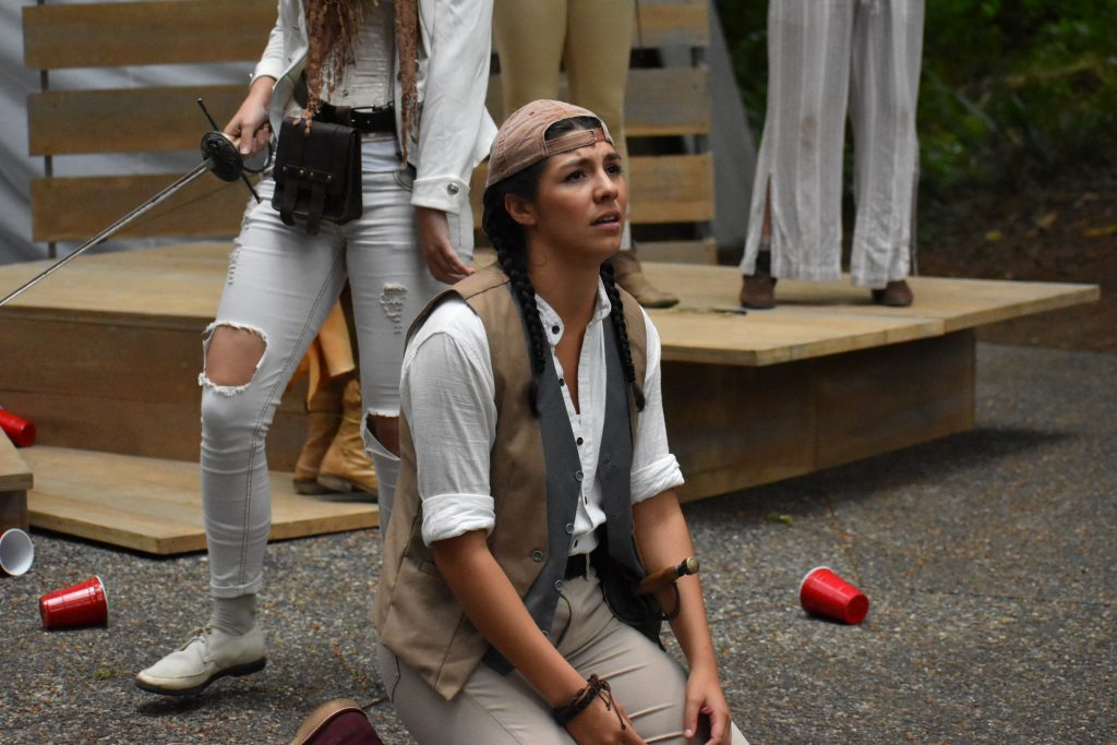 Lynnwood Times photo by Luke Putvin. Sofía Raquel Sánchez as Romeo at Lynndale Park for the July 17 performance of Romeo and Juliet by Seattle Shakespeare Company.