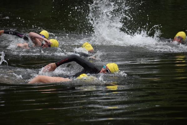 Lynnwood Times photo by Luke Putvin. Swimmers at Martha Lake Open Swim Races on July 4.