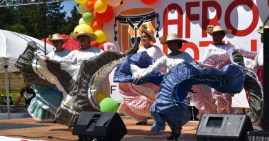 "Lynnwood Times photo by Luke Putvin. Mexican folk dance group ""Herencias Mexicanas"" at Lynnwood Afrolatino Festival on July 20."