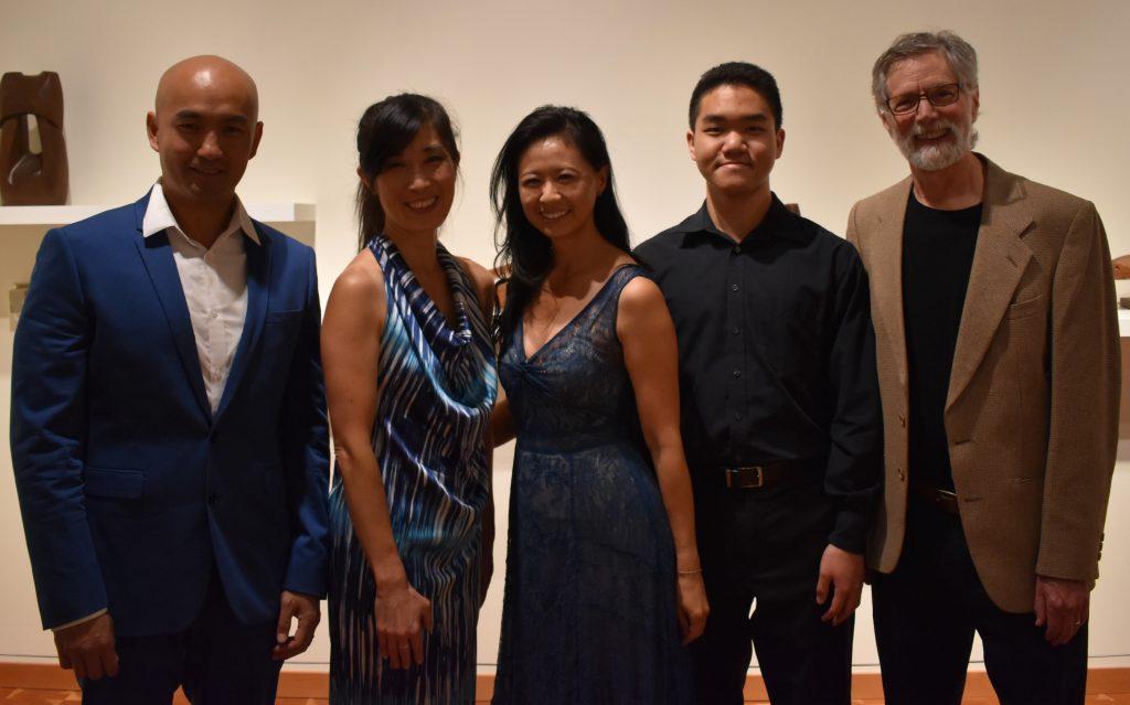 Lynnwood Times photo by Luke Putvin. Pictured L-R: Christopher Liu, Harumi Makiyama, Pamela Liu, Ethan Wu and Cal Lewin at Cascadia Art Museum on July 20.