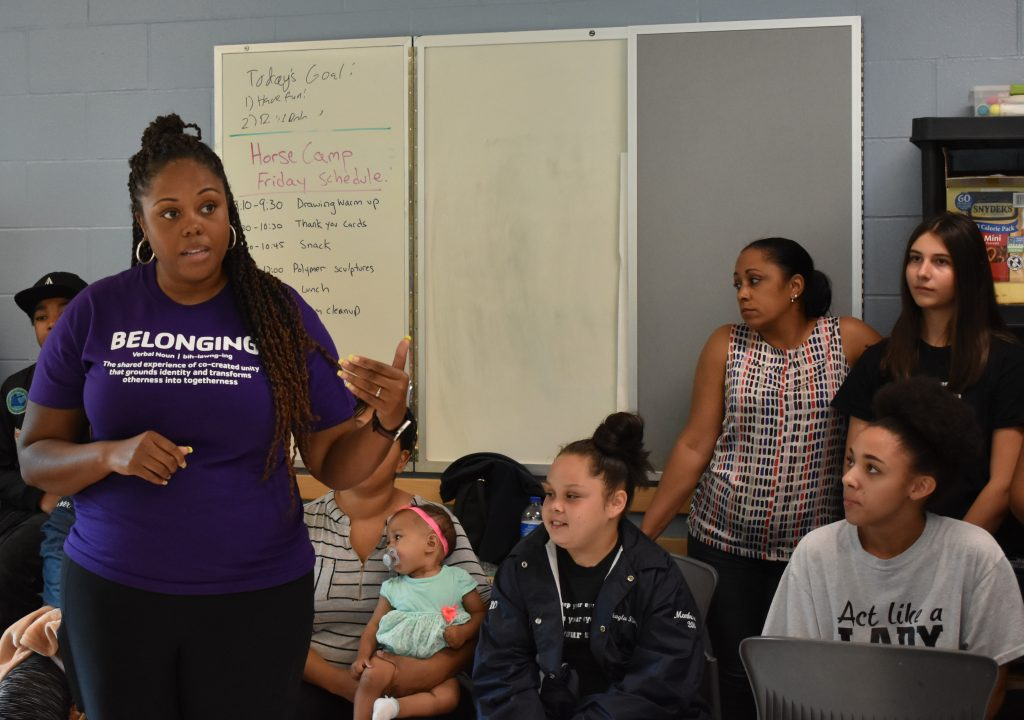 Lynnwood Times photo by Luke Putvin. Darnesha Weary speaking at Northside Step Team tryouts at Dale Turner YMCA on August 2.