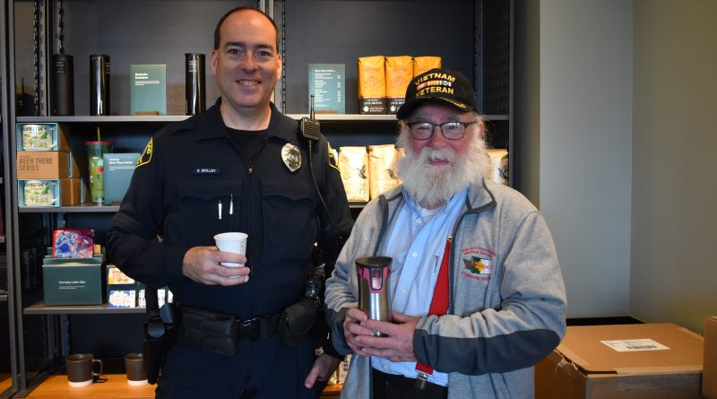 Lynnwood Crossroads Starbucks Police Officer Denis Molloy with Joel Ware