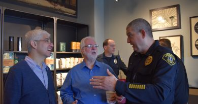 Lynnwood Starbucks astor Hector Garfias-Toledo from Trinity Lutheran, Jim Smith, and Sgt. Sean Doty.