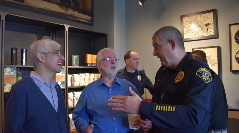 Lynnwood Starbucks astor Hector Garfias-Toledo from Trinity Lutheran, Jim Smith, and Sgt. Sean Doty.