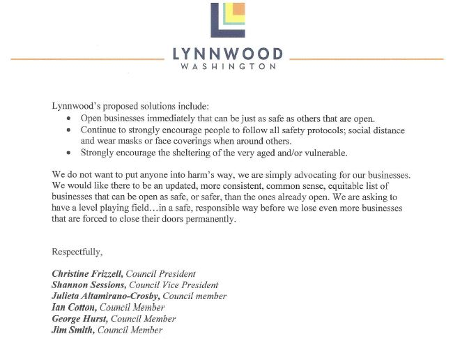 Lynnwood City Council Letter